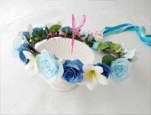 他の写真2: 造花オーダーメイドブーケ  クラッチ20・ブトニア・花冠・リストレット(Wプルメリア&ブルーローズ+パール)