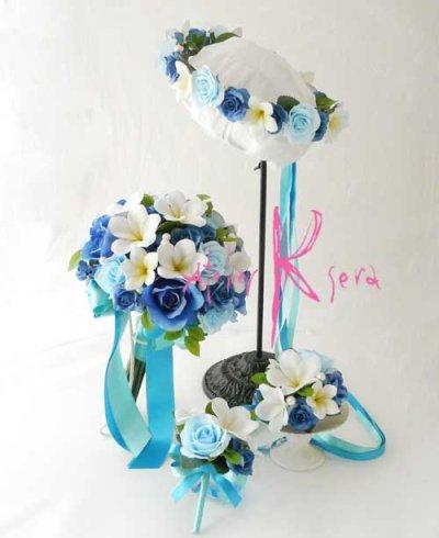画像1: 造花オーダーメイドブーケ  クラッチ20・ブトニア・花冠・リストレット(Wプルメリア&ブルーローズ+パール)