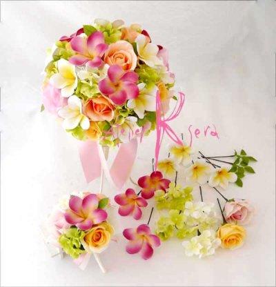 画像1: 造花オーダーメイドブーケ ラウンド22・ブトニア・ヘッドパーツ(プルメリア&カラフルローズ)
