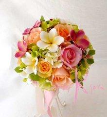 他の写真3: 造花オーダーメイドブーケ ラウンド22・ブトニア・ヘッドパーツ(プルメリア&カラフルローズ)