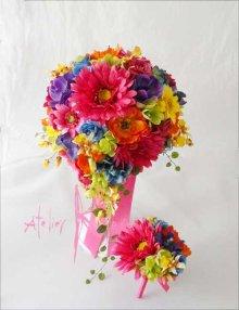 他の写真1: 造花オーダーメイドブーケ  ティアドロップ・ブトニア・ヘッドパーツ・(ビビッドカラーミックス)