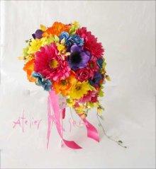 他の写真2: 造花オーダーメイドブーケ  ティアドロップ・ブトニア・ヘッドパーツ・(ビビッドカラーミックス)