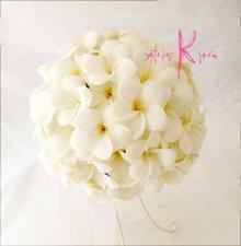 他の写真2: 造花オーダーメイドブーケ クラッチ22・ブトニア・花冠(ホワイトプルメリア)
