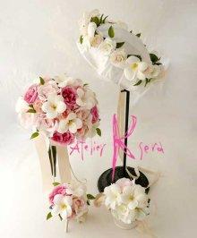 他の写真2: 造花オーダーメイドブーケ クラッチ23・ブトニア・花冠・リストレット(ホワイトプルメリア&ピンクローズ)