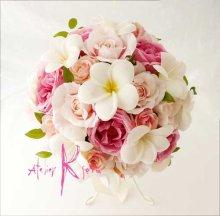 他の写真1: 造花オーダーメイドブーケ クラッチ23・ブトニア・花冠・リストレット(ホワイトプルメリア&ピンクローズ)