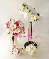 造花オーダーメイドブーケ クラッチ23・ブトニア・花冠・リストレット(ホワイトプルメリア&ピンクローズ)