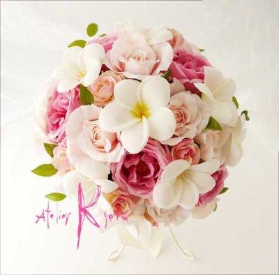 画像2: 造花オーダーメイドブーケ クラッチ23・ブトニア・花冠・リストレット(ホワイトプルメリア&ピンクローズ)