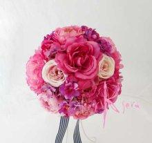 他の写真1: 造花オーダーメイドブーケ クラッチ22・ブトニア・ヘッドパーツ(ピンクパープルグラデーション ローズ&ピオニー)