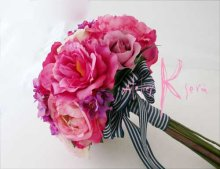 他の写真3: 造花オーダーメイドブーケ クラッチ22・ブトニア・ヘッドパーツ(ピンクパープルグラデーション ローズ&ピオニー)