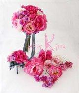 造花オーダーメイドブーケ クラッチ22・ブトニア・ヘッドパーツ(ピンクパープルグラデーション ローズ&ピオニー)