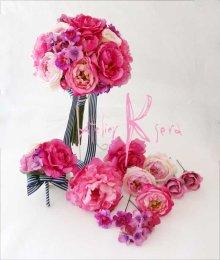 他の写真2: 造花オーダーメイドブーケ クラッチ22・ブトニア・ヘッドパーツ(ピンクパープルグラデーション ローズ&ピオニー)