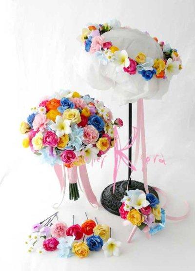 画像1: 造花オーダーメイドブーケ クラッチ22・ブトニア・ヘッドパーツセット・ミニブーケ(ミックスカラー)
