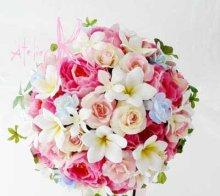 他の写真1: 造花オーダーメイドブーケ クラッチ22・ブトニア・花冠(ミニプルメリア&ピンクローズ)