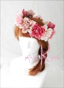 他の写真2: 造花オーダーメイドブーケ ラウンド24・ブトニア・花冠(ニュアンスピンクグラデーション ローズ&ダリア)