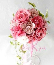 他の写真1: 造花オーダーメイドブーケ ラウンド24・ブトニア・花冠(ニュアンスピンクグラデーション ローズ&ダリア)