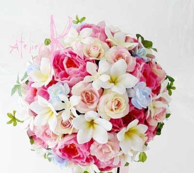 画像2: 造花オーダーメイドブーケ クラッチ22・ブトニア・花冠(ミニプルメリア&ピンクローズ)