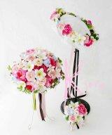 造花オーダーメイドブーケ クラッチ22・ブトニア・花冠(ミニプルメリア&ピンクローズ)