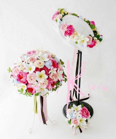 画像1: 造花オーダーメイドブーケ クラッチ22・ブトニア・花冠(ミニプルメリア&ピンクローズ)