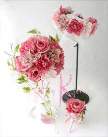 他の写真3: 造花オーダーメイドブーケ ラウンド24・ブトニア・花冠(ニュアンスピンクグラデーション ローズ&ダリア)
