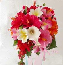 他の写真1: 造花オーダーメイドブーケ  ティアドロップ・ブトニア・ヘッドパーツセット(ハイビスカス&プルメリアミックス)