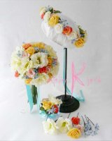 造花オーダーメイドブーケ クラッチ23・ブトニア・花冠・ヘッドパーツセット(トルコギキョウ&ローズ)