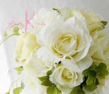 他の写真3: 造花大輪ホワイトローズ ナチュラルキャスケードブーケ・ブトニア・ヘッドパーツセット