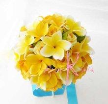 他の写真1: 造花オーダーメイドブーケ  クラッチ20・ブトニア・花冠・リストレット(プルメリアイエローグラデーションー)