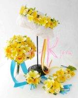 造花オーダーメイドブーケ  クラッチ20・ブトニア・花冠・リストレット(プルメリアイエローグラデーションー)