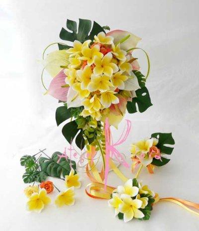 画像1: 造花オーダーメイドブーケ キャスケード・ブトニア・リストレット・ヘッドパーツ(アンスリウム&Yプルメリア)