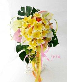 他の写真1: 造花オーダーメイドブーケ キャスケード・ブトニア・リストレット・ヘッドパーツ(アンスリウム&Yプルメリア)
