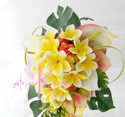 画像4: 造花オーダーメイドブーケ キャスケード・ブトニア・リストレット・ヘッドパーツ(アンスリウム&Yプルメリア)