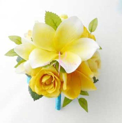 画像4: 造花オーダーメイドブーケ  クラッチ20・ブトニア・花冠・リストレット(プルメリアイエローグラデーションー)
