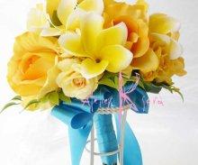 他の写真3: 造花オーダーメイドブーケ  クラッチ20・ブトニア・花冠・リストレット(プルメリアイエローグラデーションー)