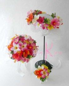 他の写真3: 造花オーダーメイドブーケ ラウンド24・ブトニア・花冠(mixカラー プルメリア&ハイビスカス)