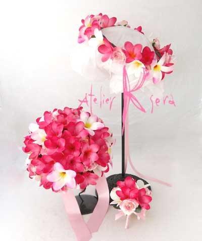 画像2: 造花オーダーメイドブーケ ラウンド23・ブトニア・花冠(ピンクプルメリア&ミニローズ)