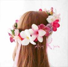 他の写真2: 造花オーダーメイドブーケ ラウンド24・ブトニア・花冠(ピンクプルメリア&ローズ)