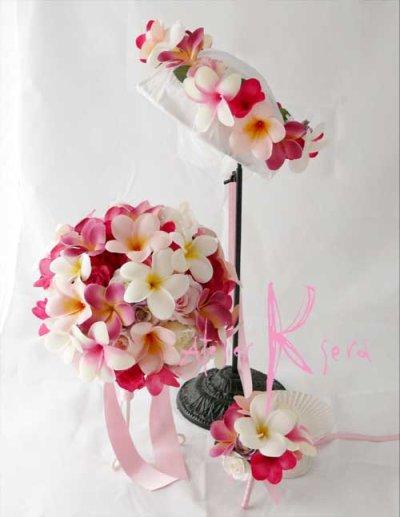 画像1: 造花オーダーメイドブーケ ラウンド24・ブトニア・花冠(ピンクプルメリア&ローズ)