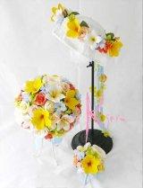 造花オーダーメイドブーケ  ラウンド22・花冠・ブトニア(シャンパンローズ&プルメリア)