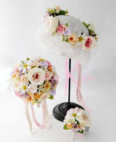 画像1: 造花オーダーメイドブーケ  ラウンド20・ブトニア・花冠(イングリッシュローズ・ミックス)