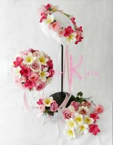 造花オーダーメイドブーケ ラウンド22・ブトニア・花冠・ヘッドパーツ(ピンクローズ&プルメリア)