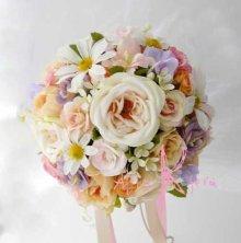 他の写真1: 造花オーダーメイドブーケ  ラウンド20・ブトニア・花冠(イングリッシュローズ・ミックス)