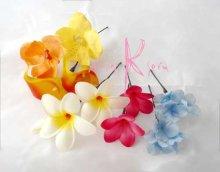 他の写真1: 造花プルメリア&ミックスカラー ラウンドブーケ・ブトニア・ヘッドパーツセット