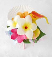 他の写真2: 造花プルメリア&ミックスカラー ラウンドブーケ・ブトニア・ヘッドパーツセット