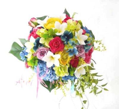 画像2: 造花オーダーメイドブーケ クラッチ25・ブトニア・ヘッドパーツセット(プルメリア&ミックスカラー)