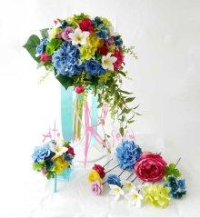 他の写真2: 造花オーダーメイドブーケ クラッチ25・ブトニア・ヘッドパーツセット(プルメリア&ミックスカラー)