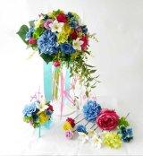 造花オーダーメイドブーケ クラッチ25・ブトニア・ヘッドパーツセット(プルメリア&ミックスカラー)