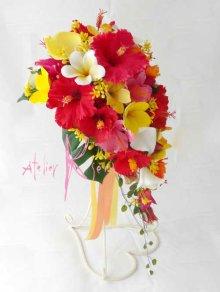 他の写真2: 造花オーダーメイドブーケ ショートキャスケード・ブトニア(ハイビスカス&プルメリア)