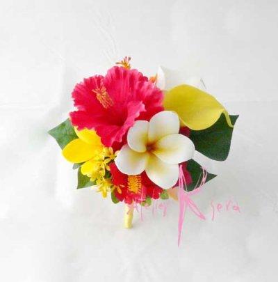 画像2: 造花オーダーメイドブーケ ショートキャスケード・ブトニア(ハイビスカス&プルメリア)