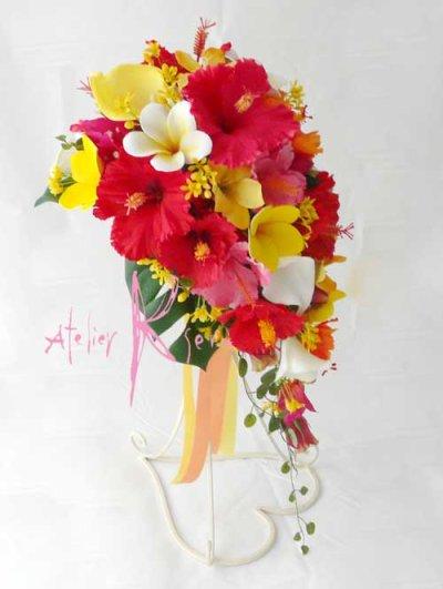 画像4: 造花オーダーメイドブーケ ショートキャスケード・ブトニア(ハイビスカス&プルメリア)