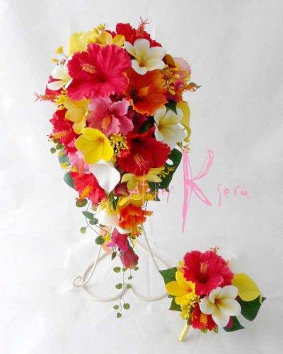 画像1: 造花オーダーメイドブーケ ショートキャスケード・ブトニア(ハイビスカス&プルメリア)